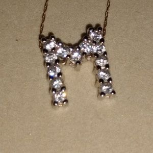 925 Silver initial necklace with CZ stones